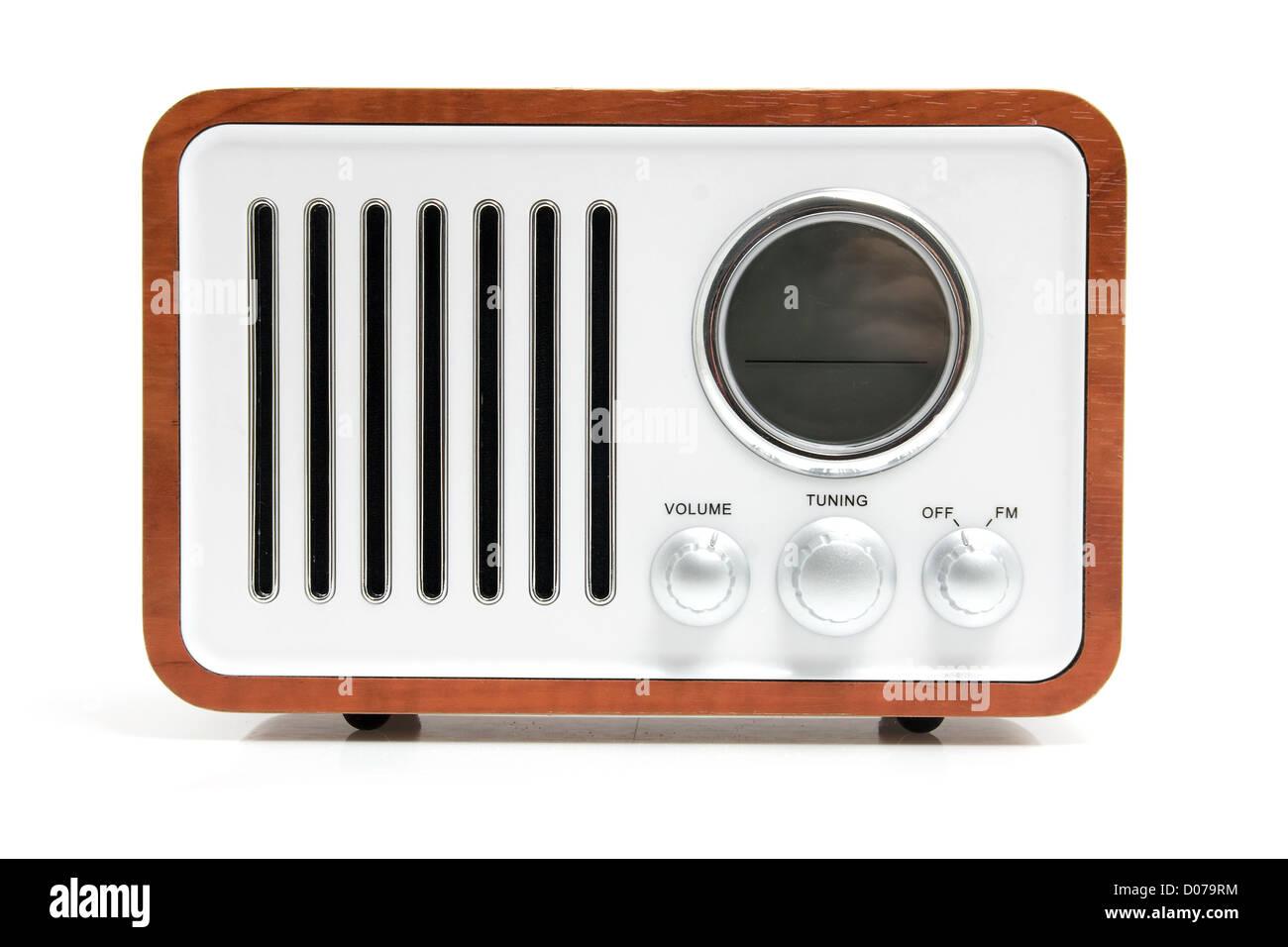 Old fashioned radio isolated on white background Stock Photo