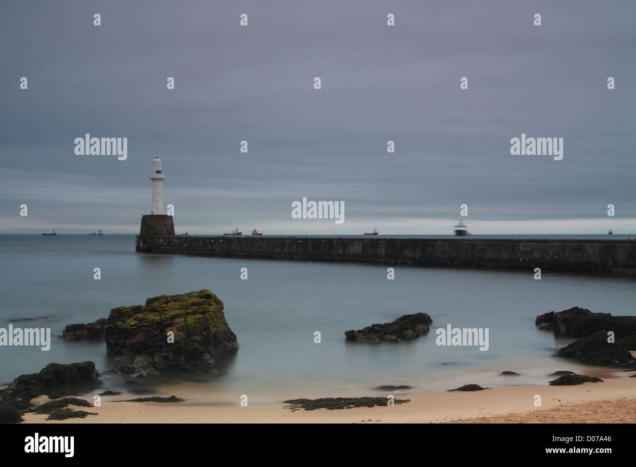 Torry Battery Lighthouse and the North Sea, Aberdeen - Stock Image