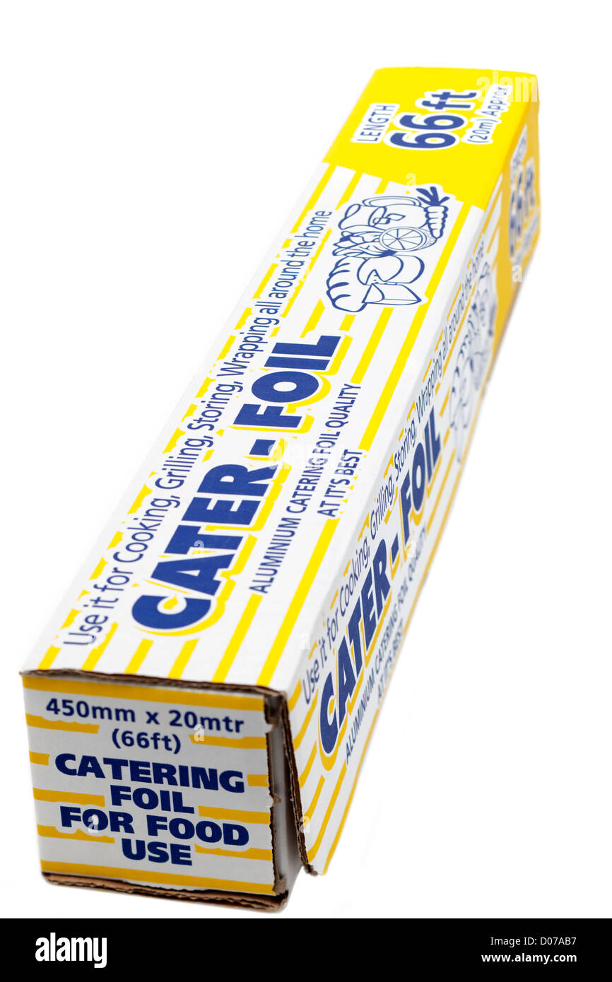 Long boxed length of Catering aluminium baking foil from Cater-Foil - Stock Image
