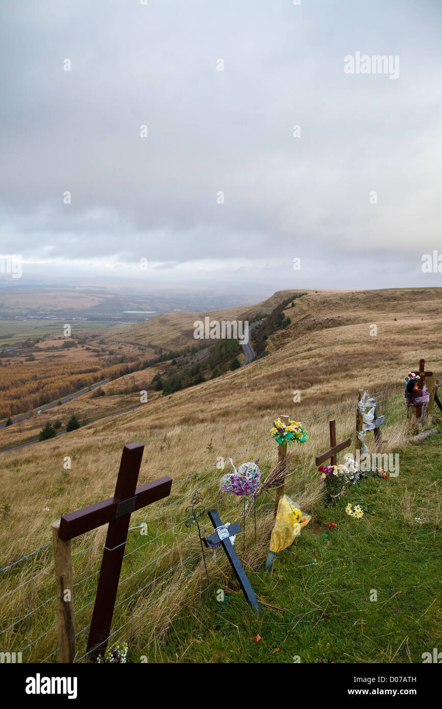 Miners tributes left on the hilltop, Craig y Llyn, northern region of the Rhondda Valley, South Wales, United Kingdom - Stock Image