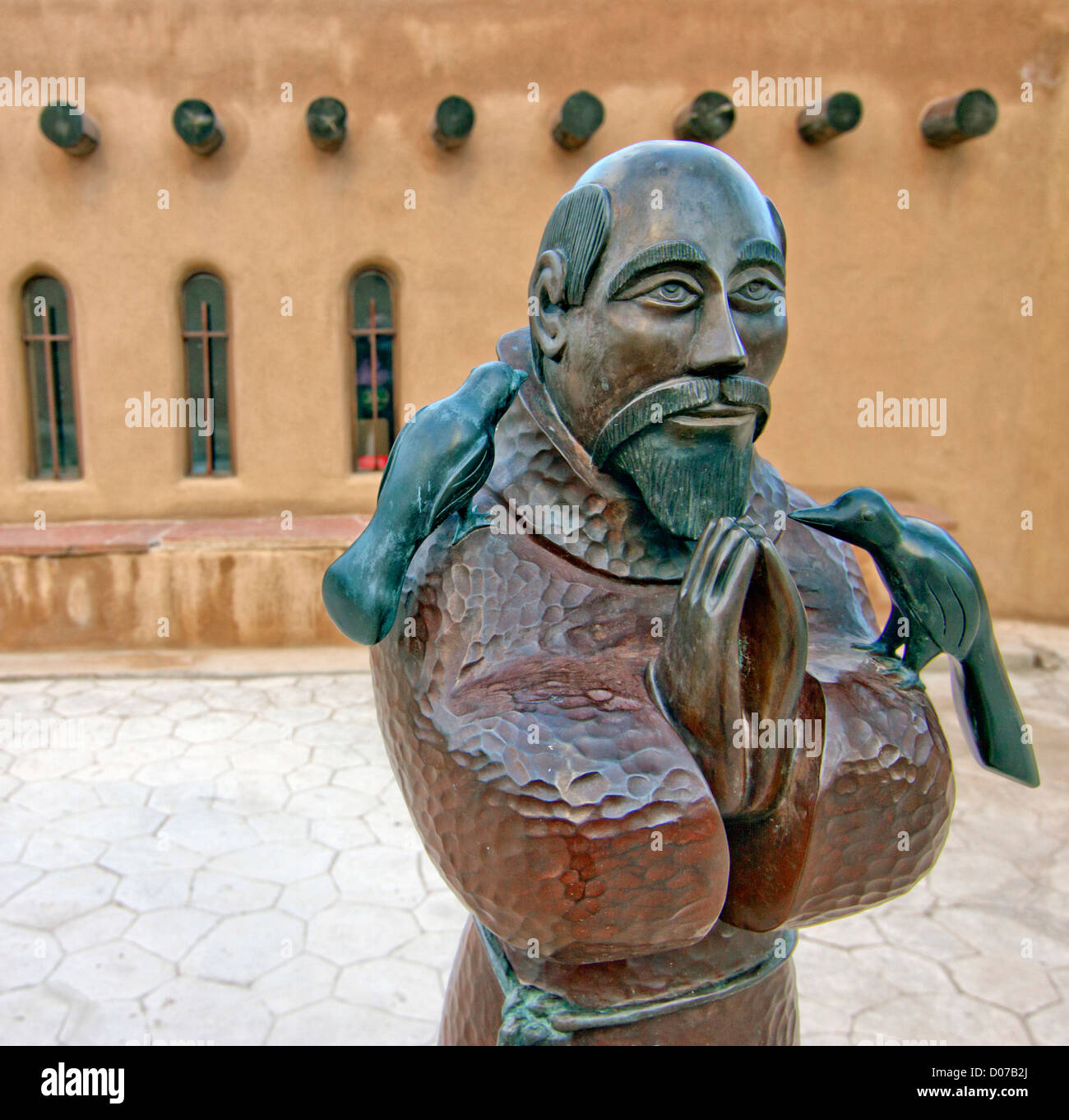 USA, New Mexico, Chimayo, Sculpture of Saint Francis of Assisi at Chimayo Sanctuary New Mexico. Stock Photo