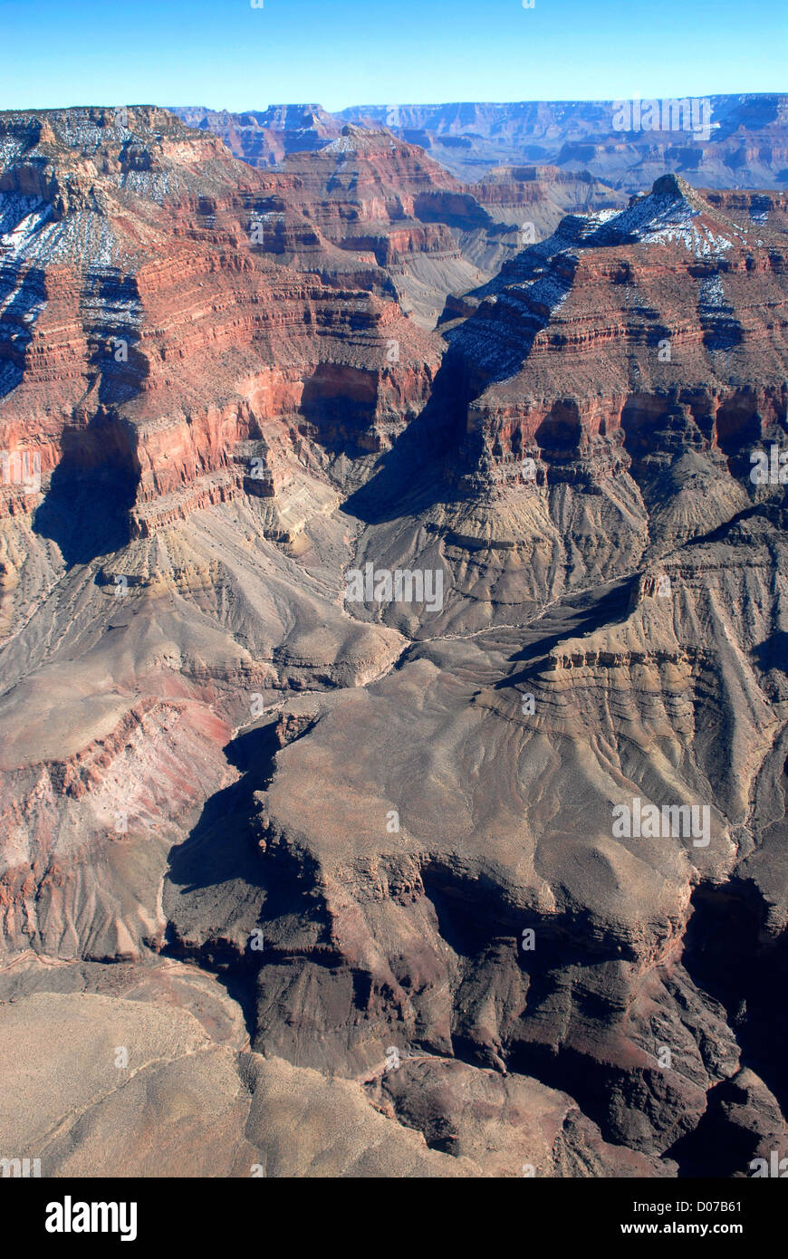 The Grand Canyon seen from a helicopter - Stock Image