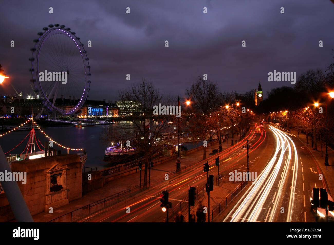 Night London at Victoria Embankment - Stock Image