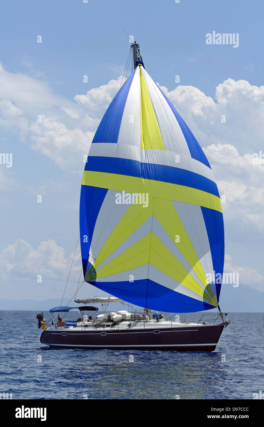 Beneteau Sailing Cruiser with Gennaker foresail Stock Photo