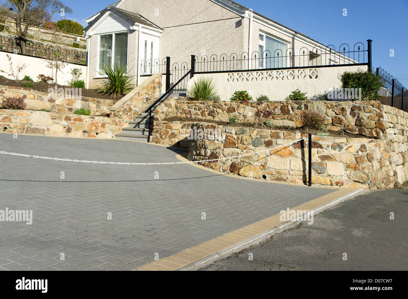 a driveway with block paving - Stock Image