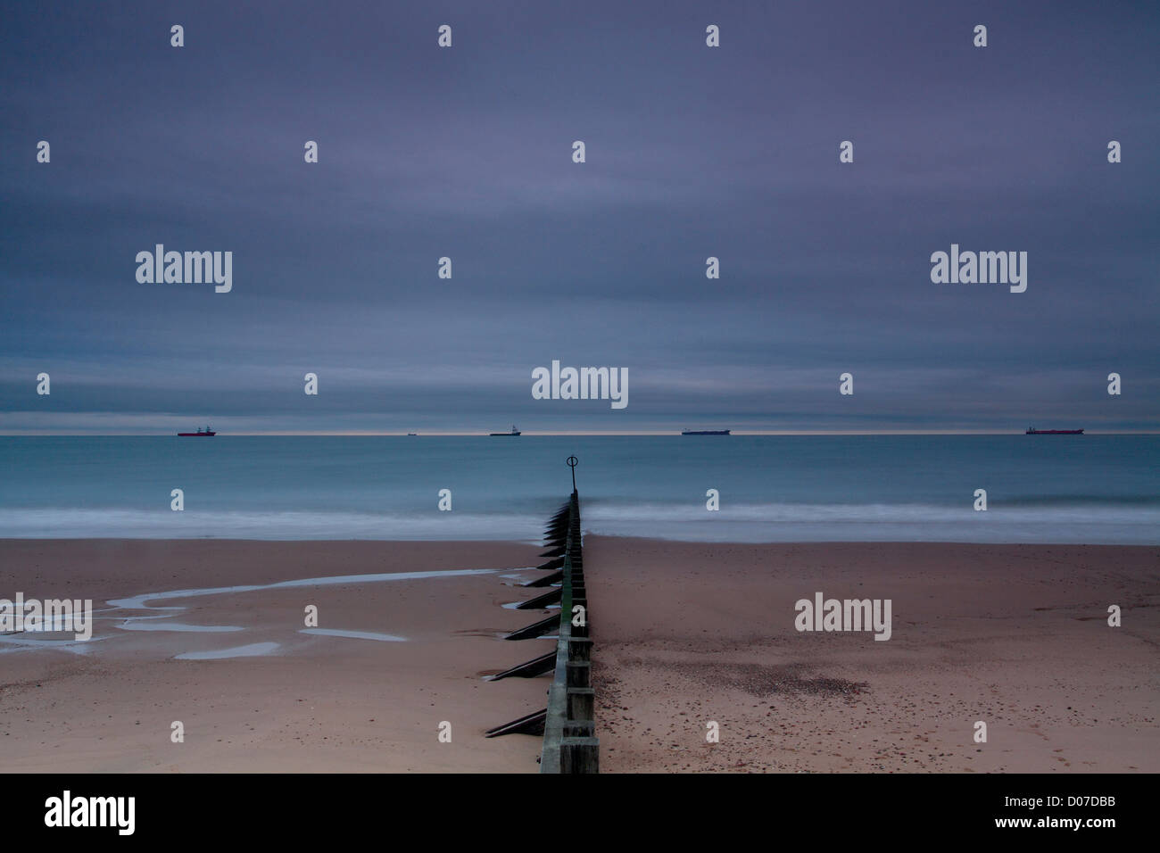 The North Sea from Aberdeen Beach at dusk, Aberdeenshire - Stock Image