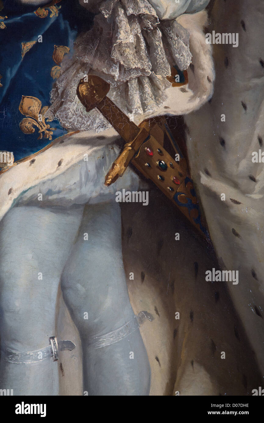 DETAIL SWORD 'JOYEUSE' REMINDER THAT KING IS CHIEF ARMIES PORTRAIT LOUIS XIV (1638-1715) KING FRANCE IN - Stock Image