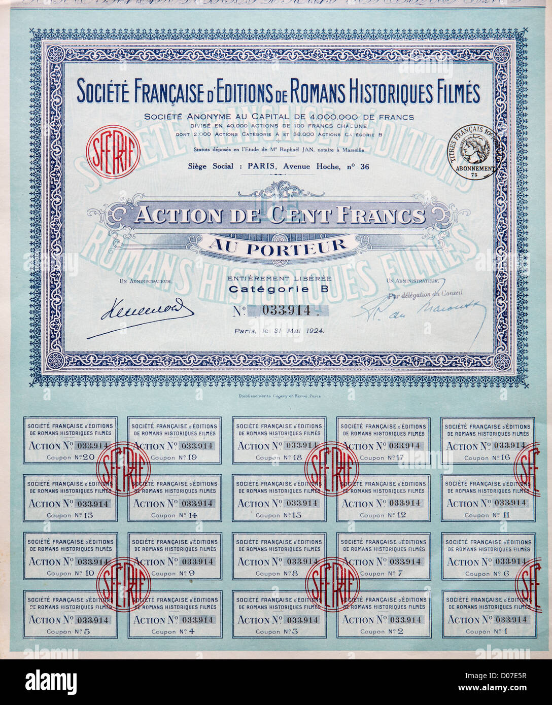 ONE HUNDRED EURO STOCKS FROM 1924 IN COMPANY FRANCAISE D'EDITIONS DE ROMANS HISTORIQUES FILMES CHATEAU DE MAINTENON - Stock Image