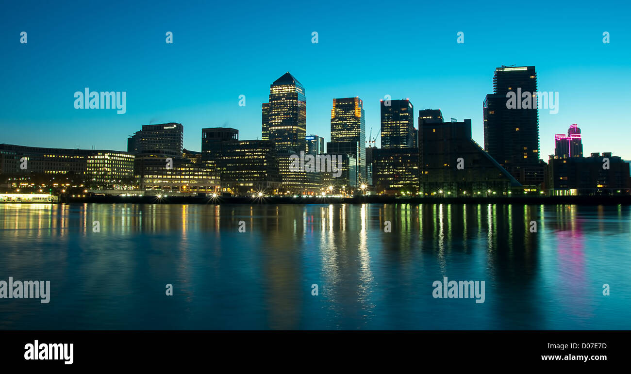 London Docklands Development by night - Stock Image