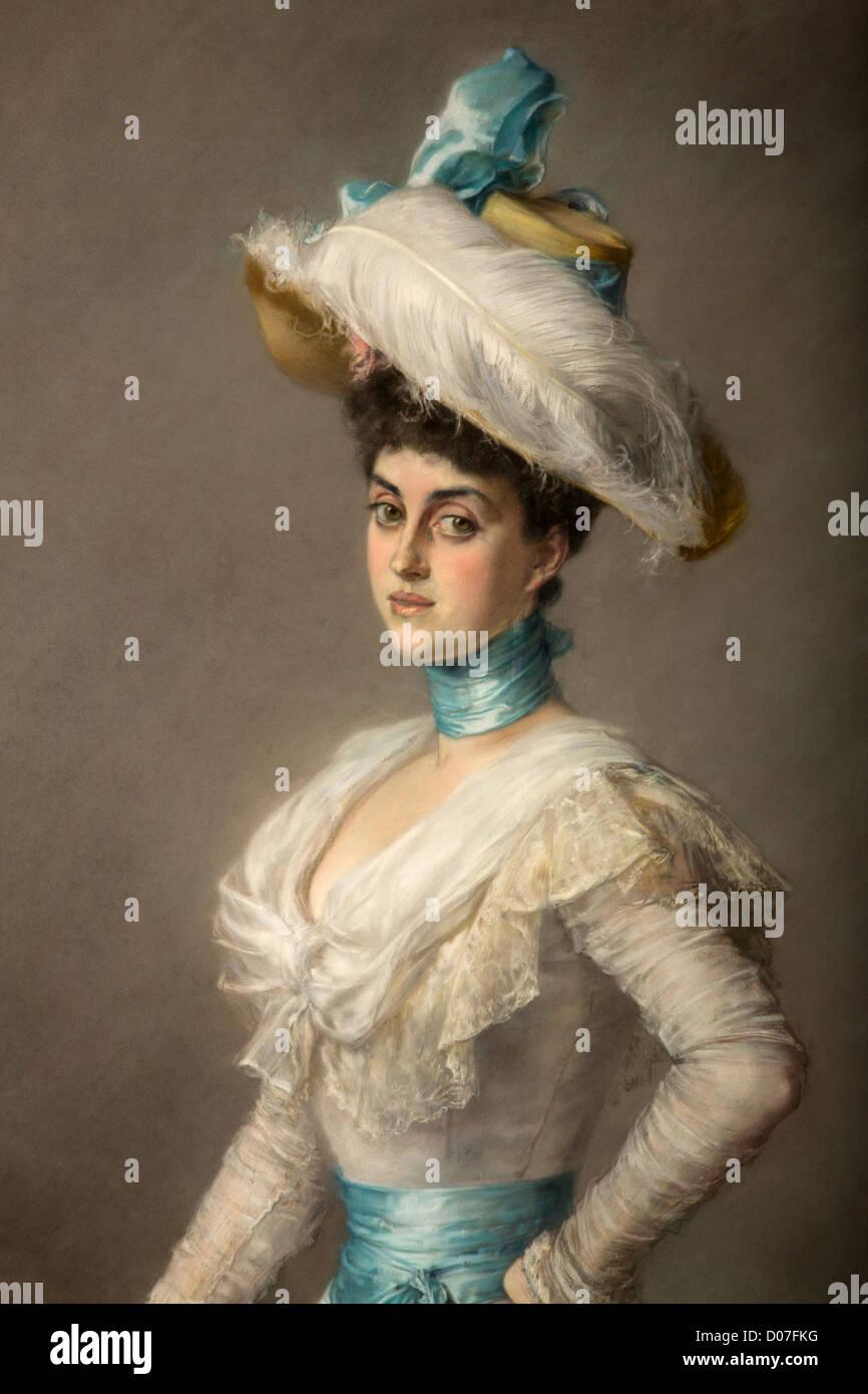 YOLANDE DE LUYNES (1897-1945) DUCHESS NOAILLES DETAIL PASTEL VON PAUSINGER (1839-1915) BILLIARD ROOM CHATEAU DE - Stock Image