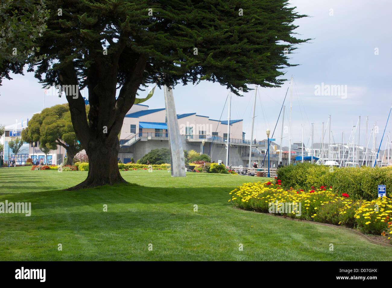 lawn and flower garden near pier 39. san francisco, california stock