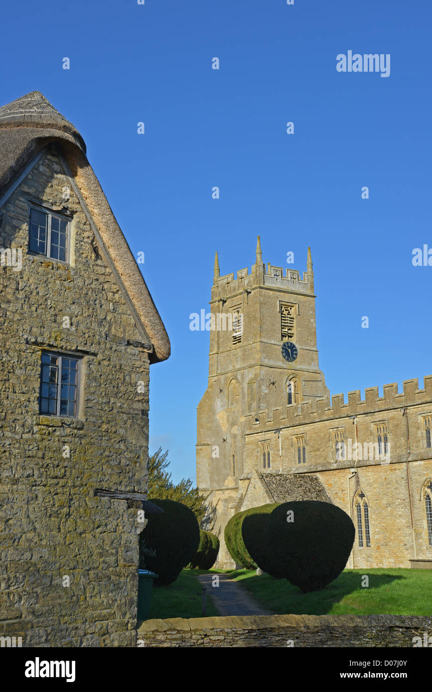 13th century Church of St Peter and St Paul, Long Compton, Warwickshire, England, United Kingdom - Stock Image