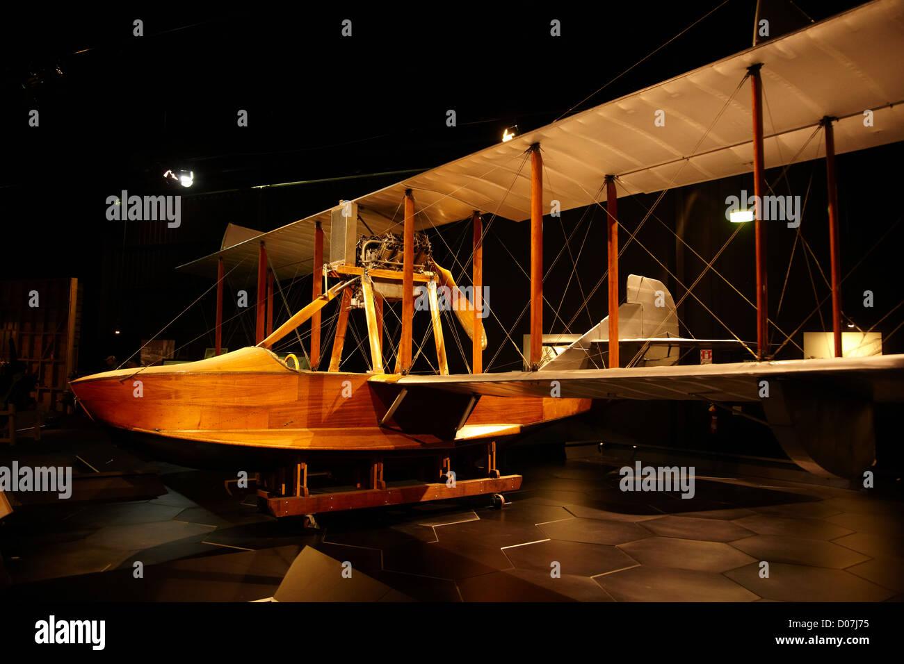 Curtiss MF Flying Boat biplane, Omaka Aviation Heritage Centre, Blenheim, Marlborough, South Island, New Zealand - Stock Image