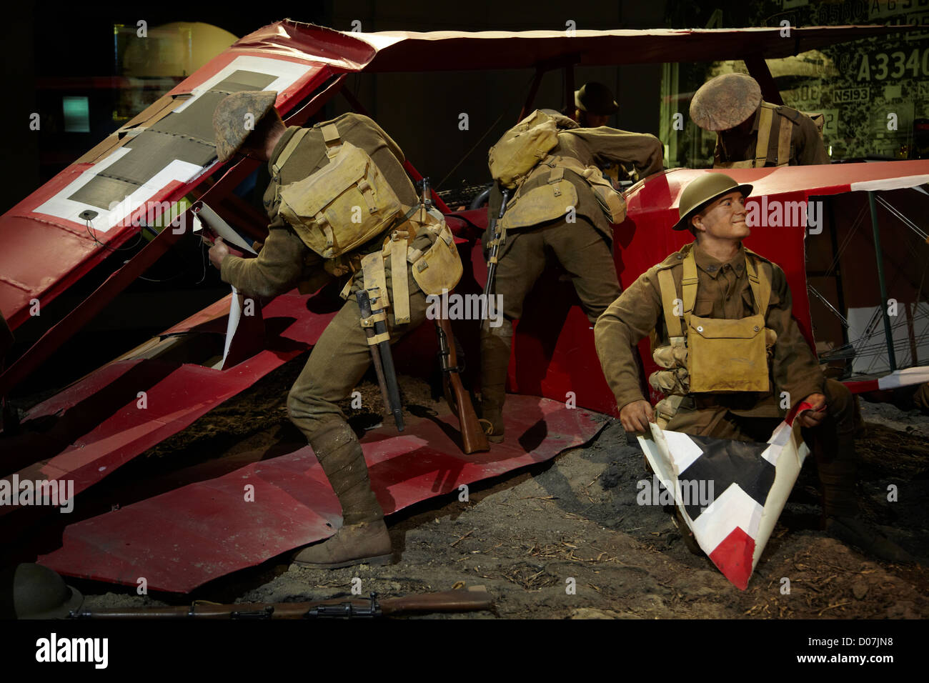 Red Barrons last flight - crashed Fokker triplane and Australian soldiers, Omaka Aviation Heritage Centre, Blenheim, - Stock Image