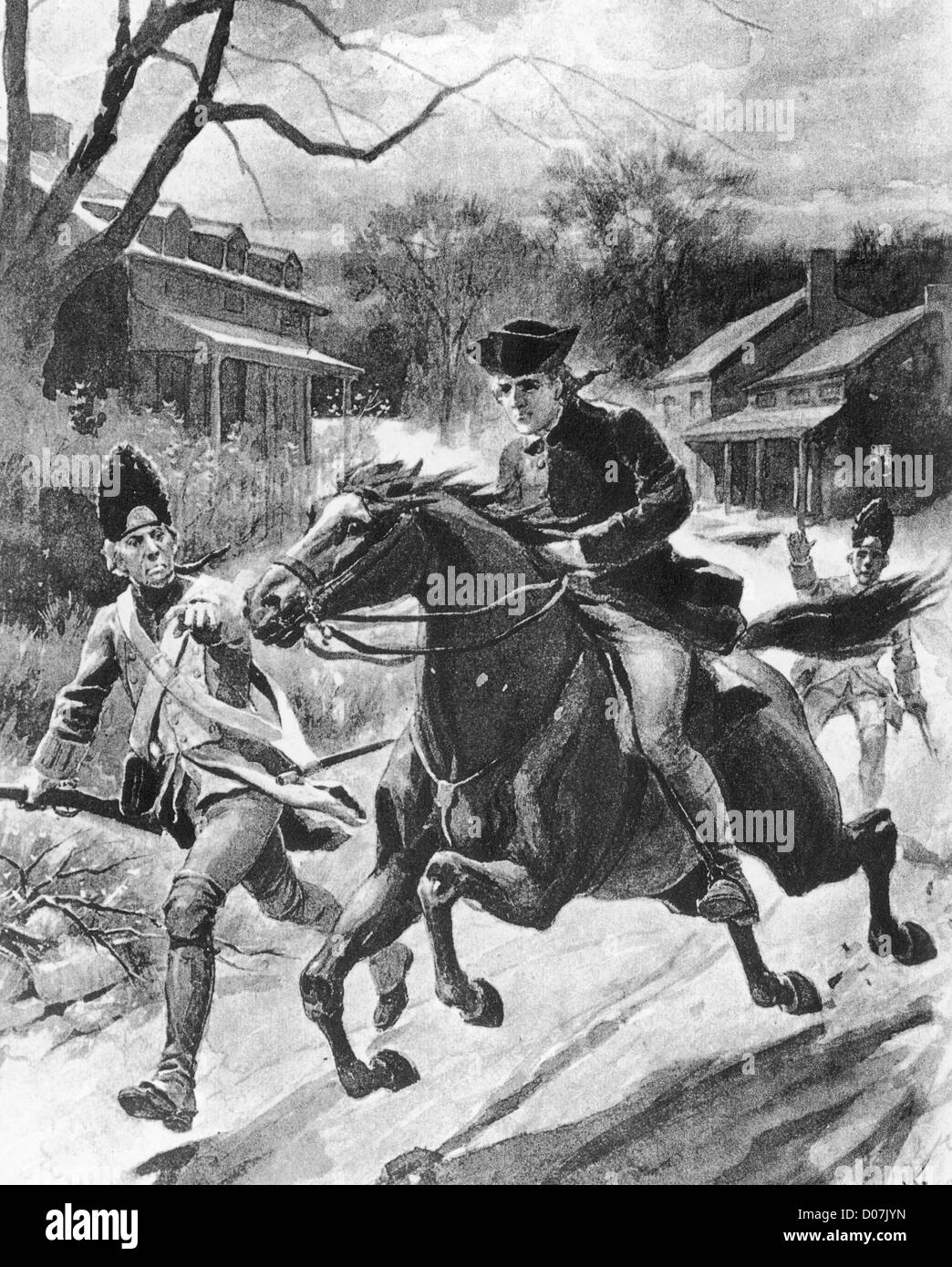 Paul Revere warns that the British are coming 1775 - Stock Image