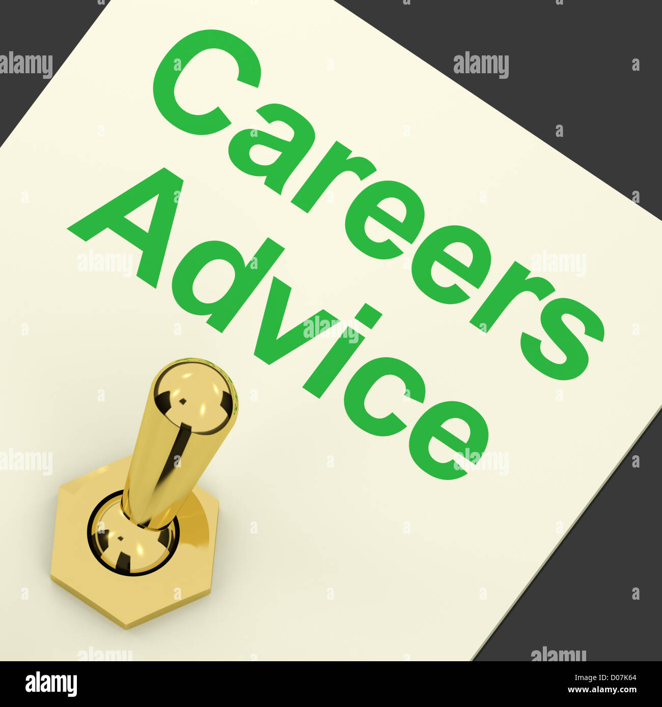 Careers Advice Switch On Shows Employment Guidance And Decisions - Stock Image
