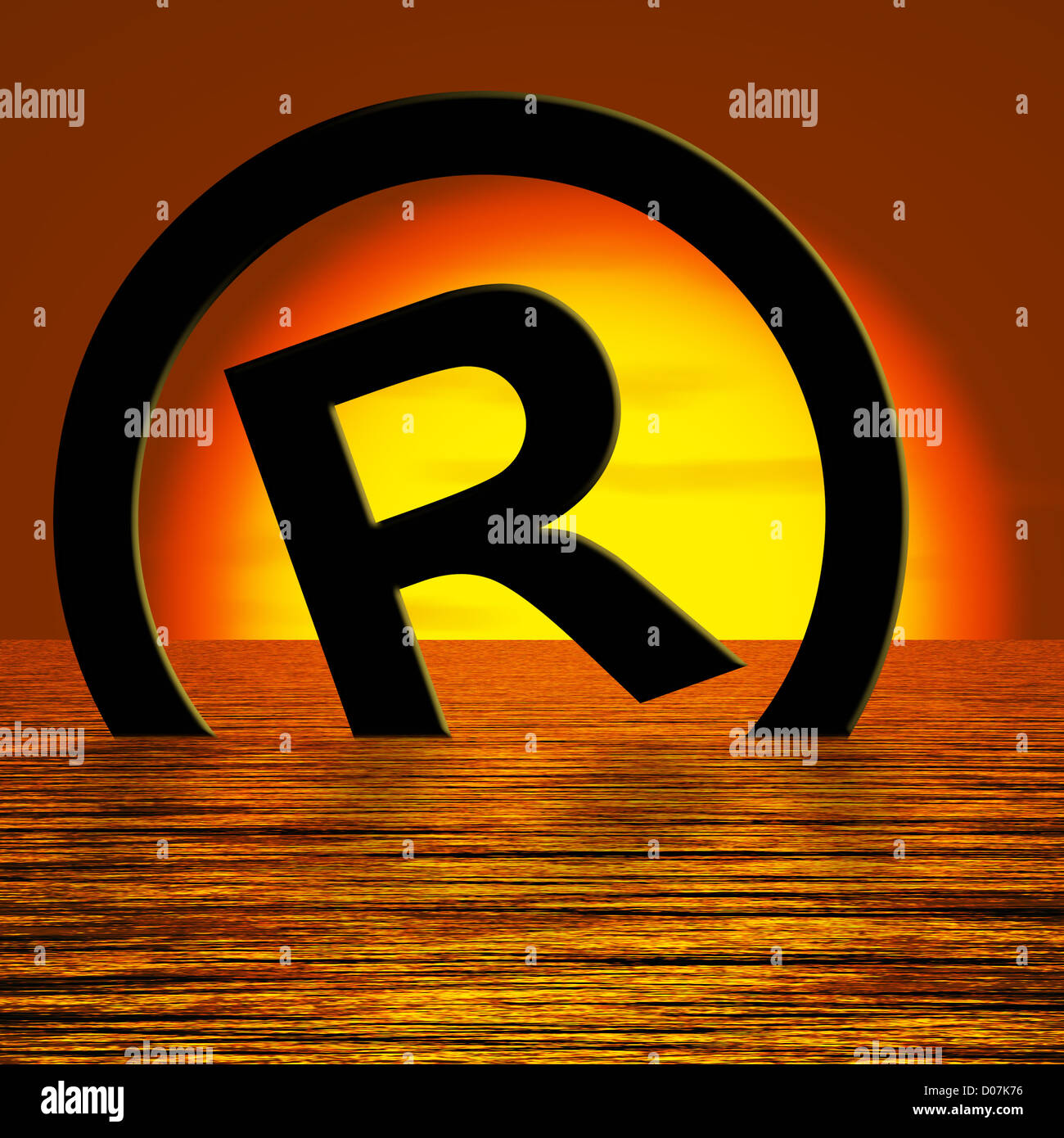 Registered Symbol Sinking Meaning Piracy Or Infringements Stock Photo