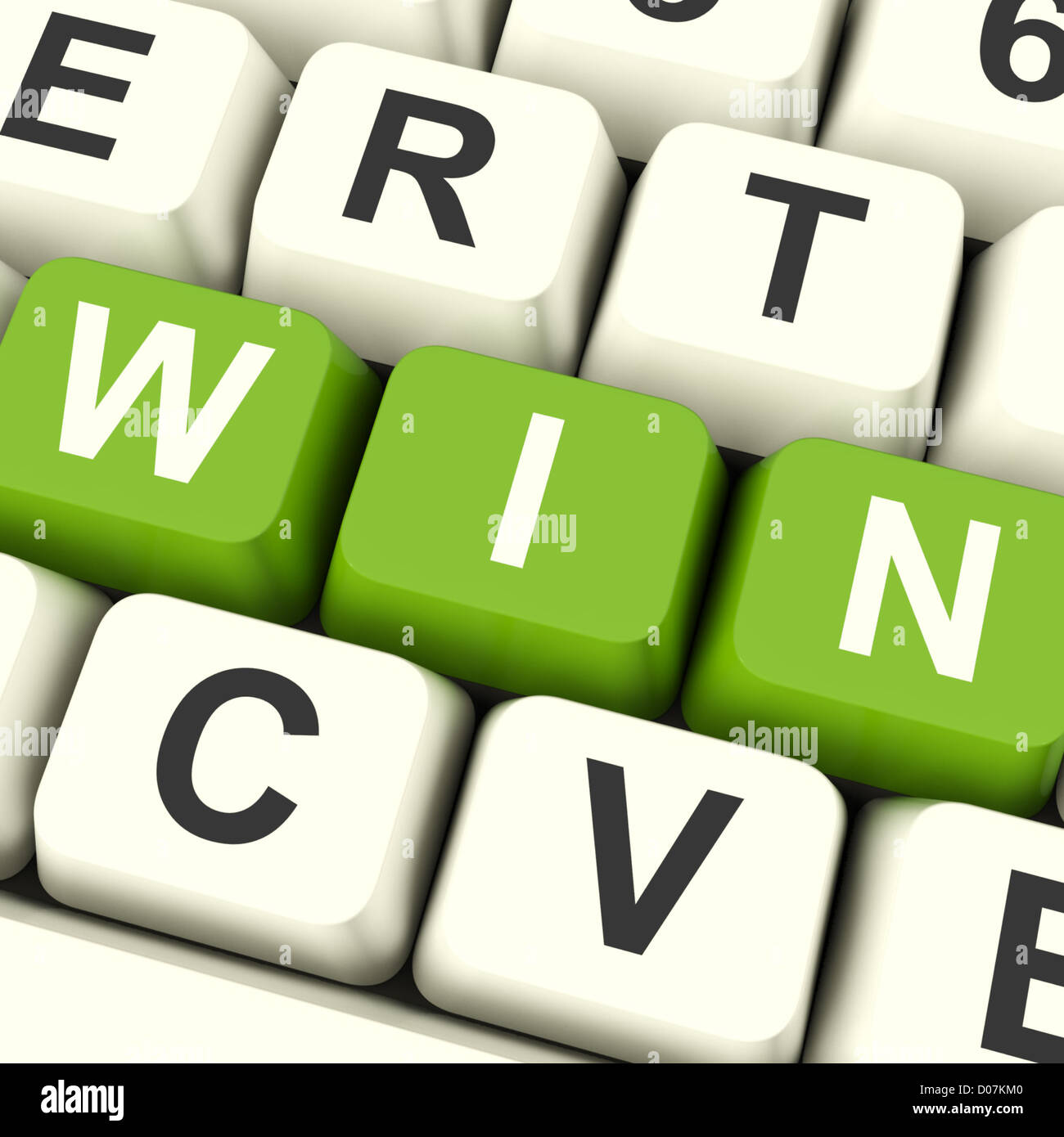 Win Computer Keys Representing Successes And Victory - Stock Image