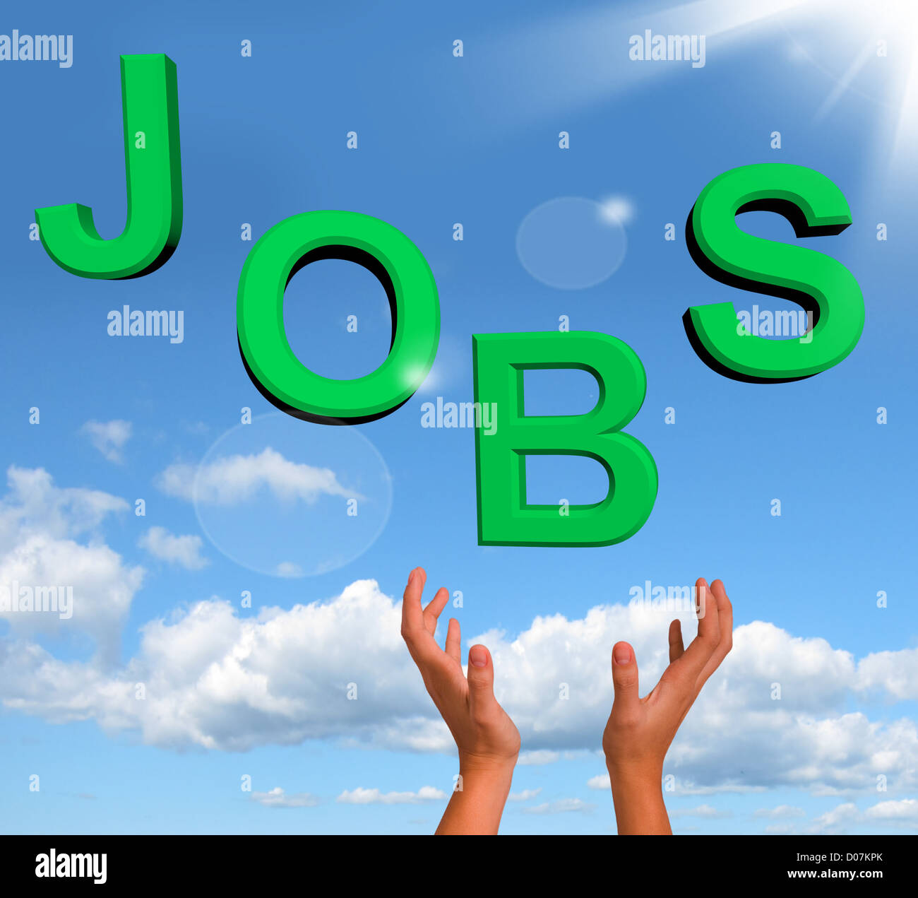 Catching Jobs Letters Showing Work And Careers - Stock Image