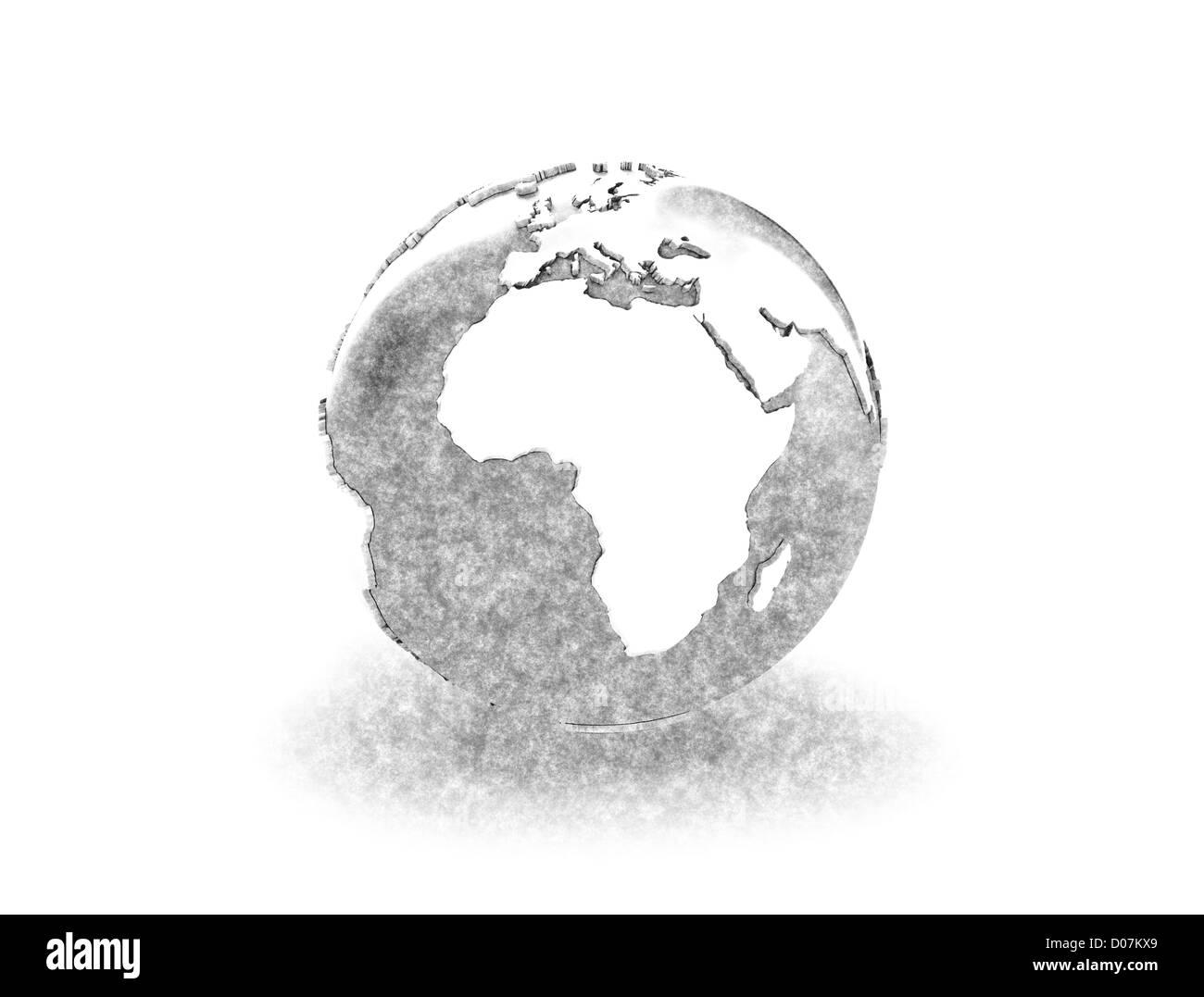 World globe pencil sketch