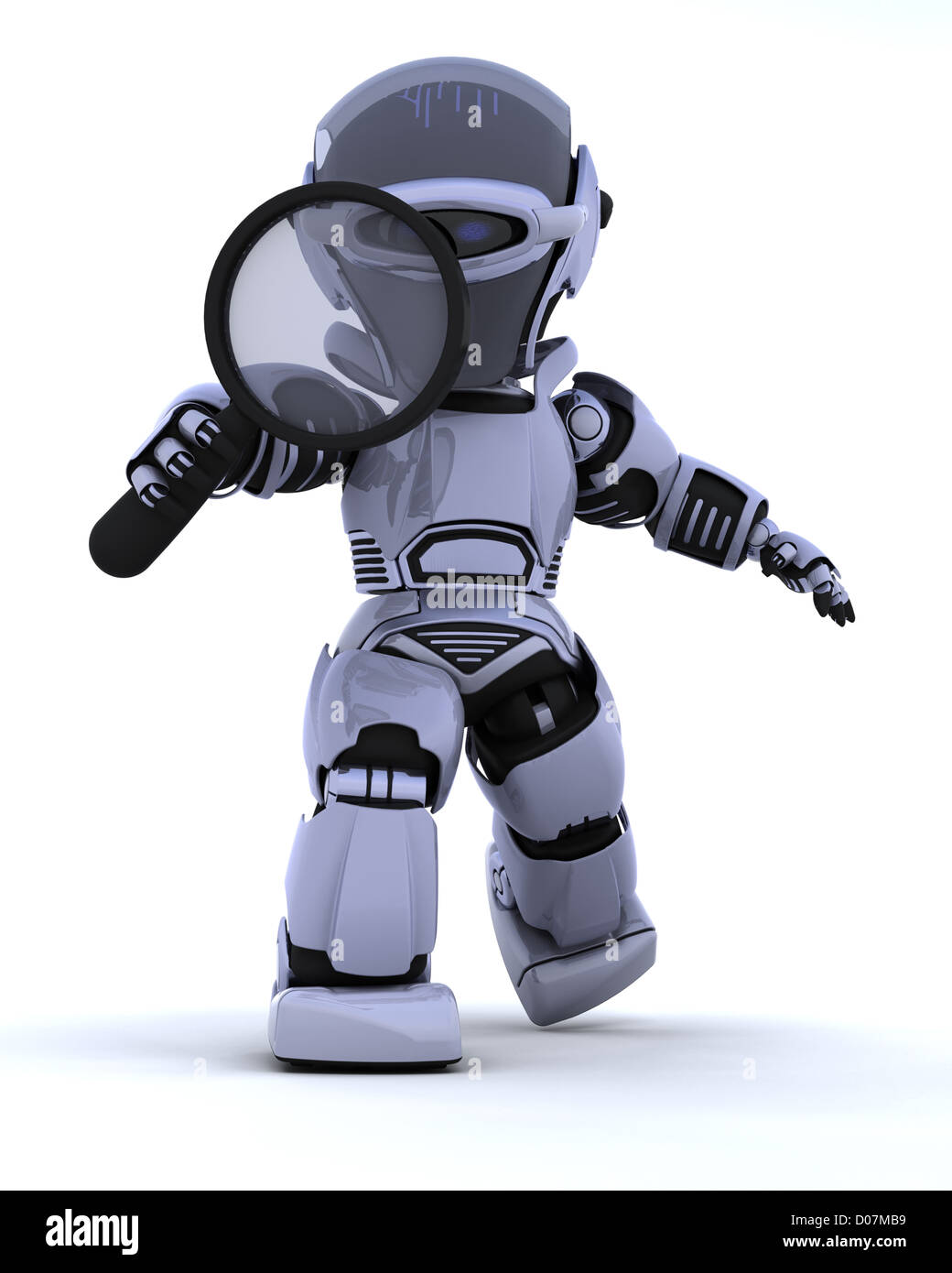 3D render of a robot searching with magnifying glass - Stock Image