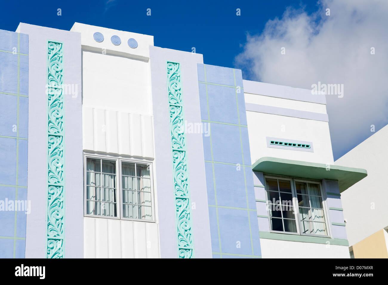 Art Deco on Ocean Drive,City of Miami Beach, Florida, USA - Stock Image