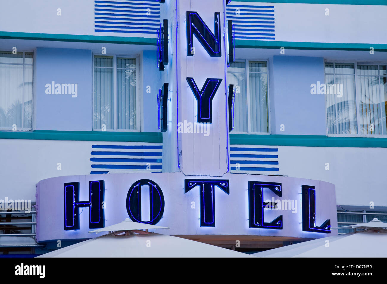 Art Deco Colony Hotel on Ocean Drive,South Beach,Miami Beach City,Florida,USA - Stock Image