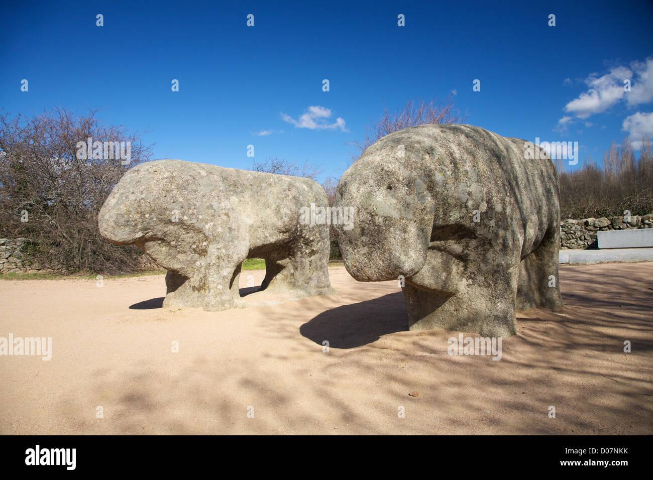 celtiberian second century BC Guisando stone bulls at Avila Spain - Stock Image