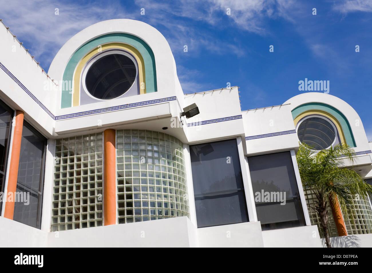 art deco architecture in coconut grove miami florida usa stock photo