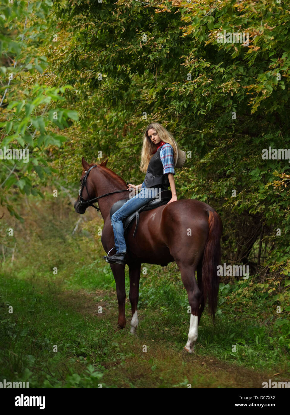 Happy cowgirl on brown horse - Stock Image