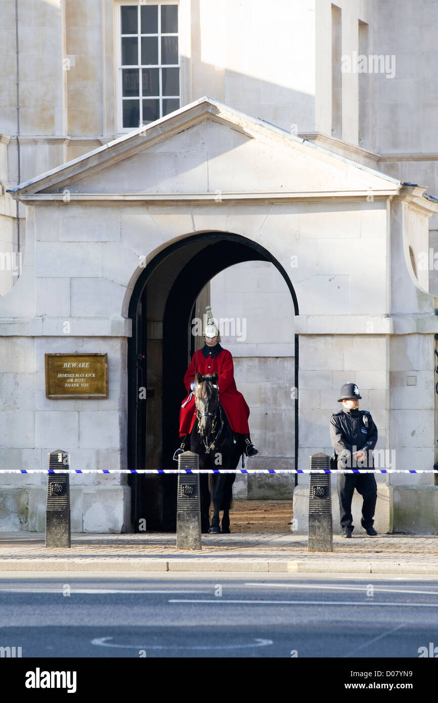 Horse Guards stand guard at Horse Guards London England Stock Photo