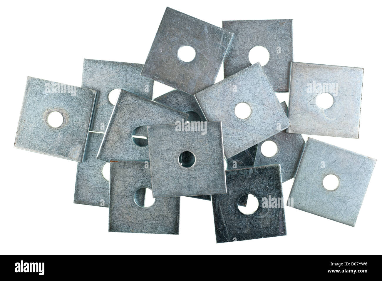 Pile of square M10 and M12 50mm by 50mm zinc plated plate washers - Stock Image