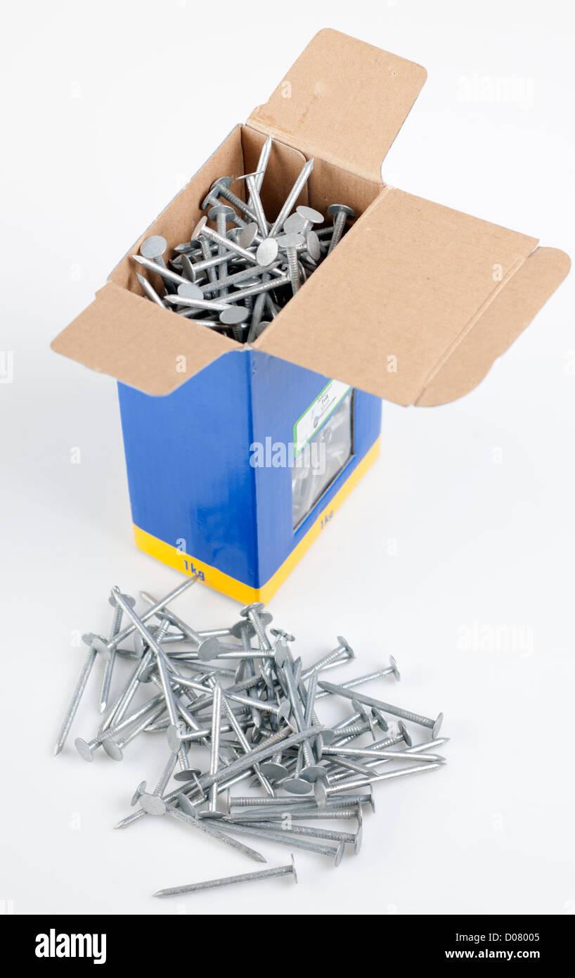 Box of 50mm galvanised felt nails - Stock Image