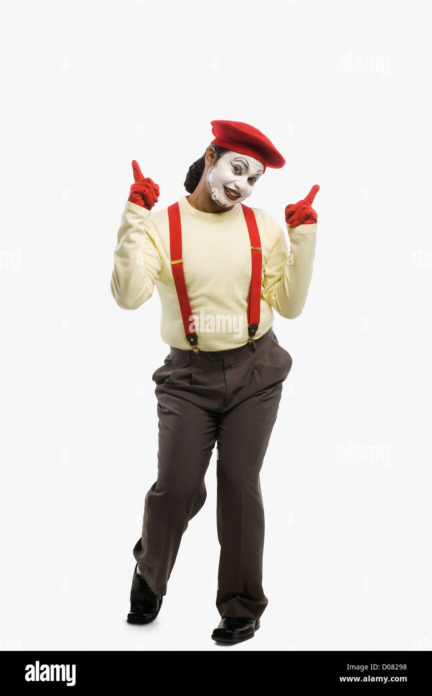 Portrait of a mime smiling - Stock Image