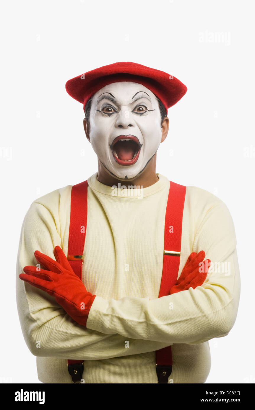 Portrait of a mime shouting - Stock Image