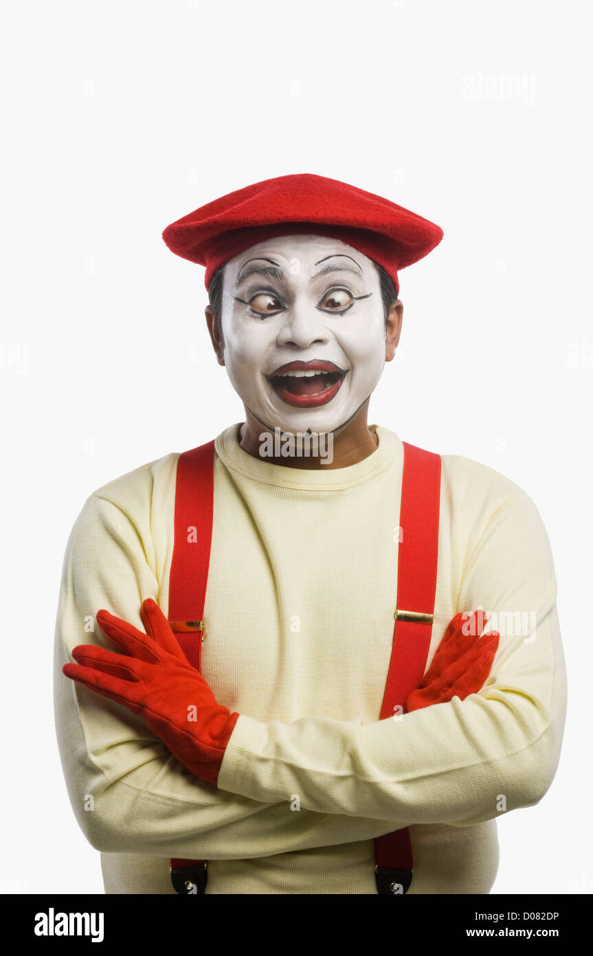 Mime rolling eyes - Stock Image
