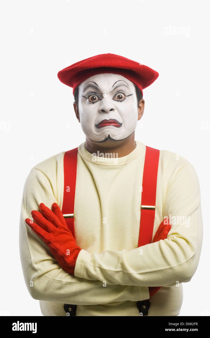 Portrait of a mime sulking - Stock Image