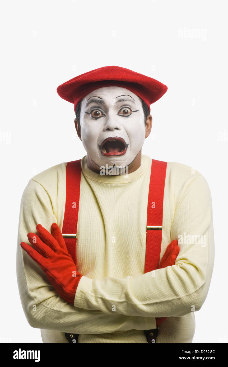 Portrait of a mime crying - Stock Image