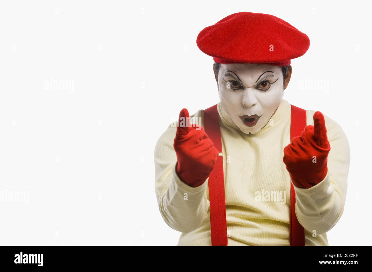 Portrait of a mime gesturing - Stock Image