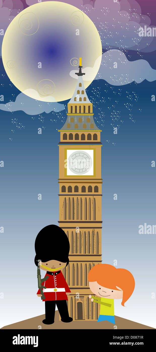 Girl standing with an honor guard in front of a clock tower, Big Ben, Houses Of Parliament, City Of Westminster, - Stock Image