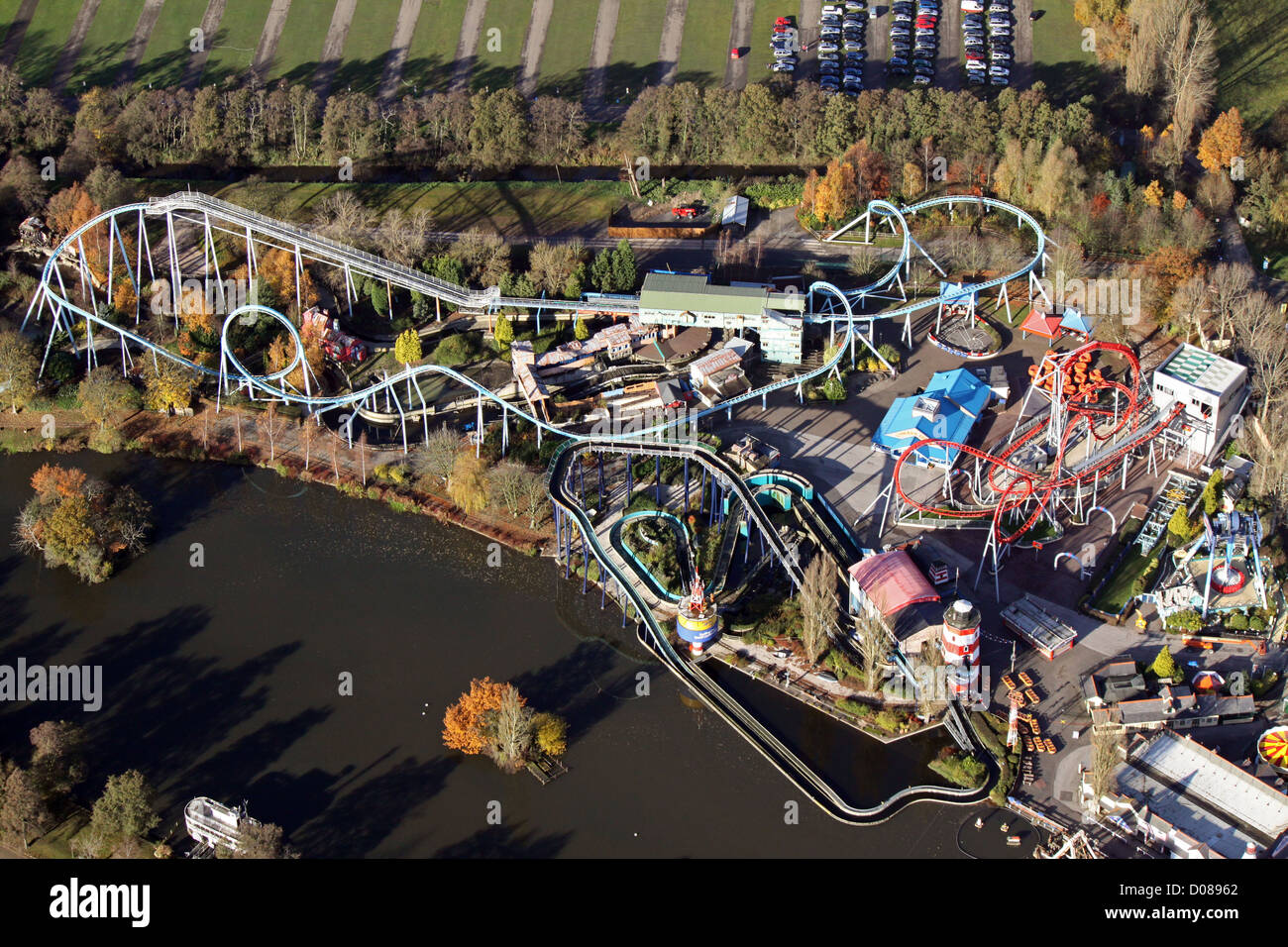 aerial view of the rollercoaster at Drayton Manor Theme Park near Tamworth - Stock Image