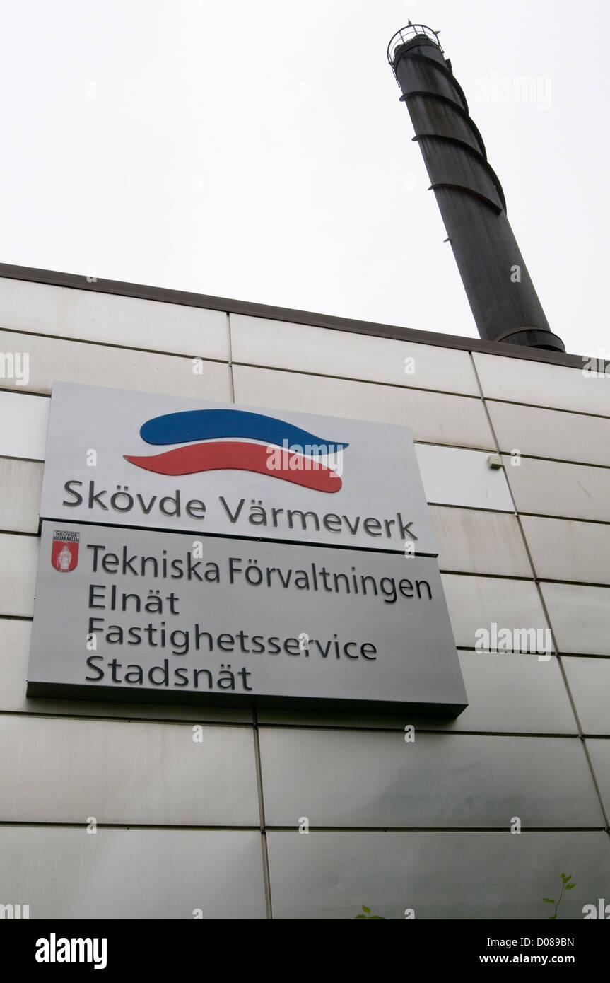 Skovde Värmeverk communal heating plant sweden swedish scandinavian scandinavia boiler water - Stock Image