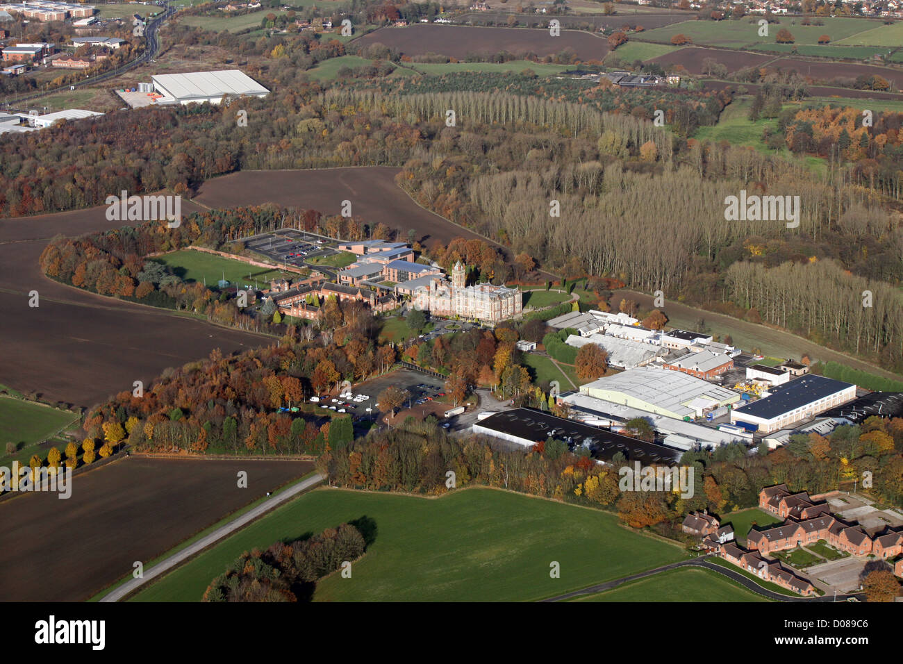 aerial view of Crewe Hall Hotel and surrounding area in Cheshire - Stock Image