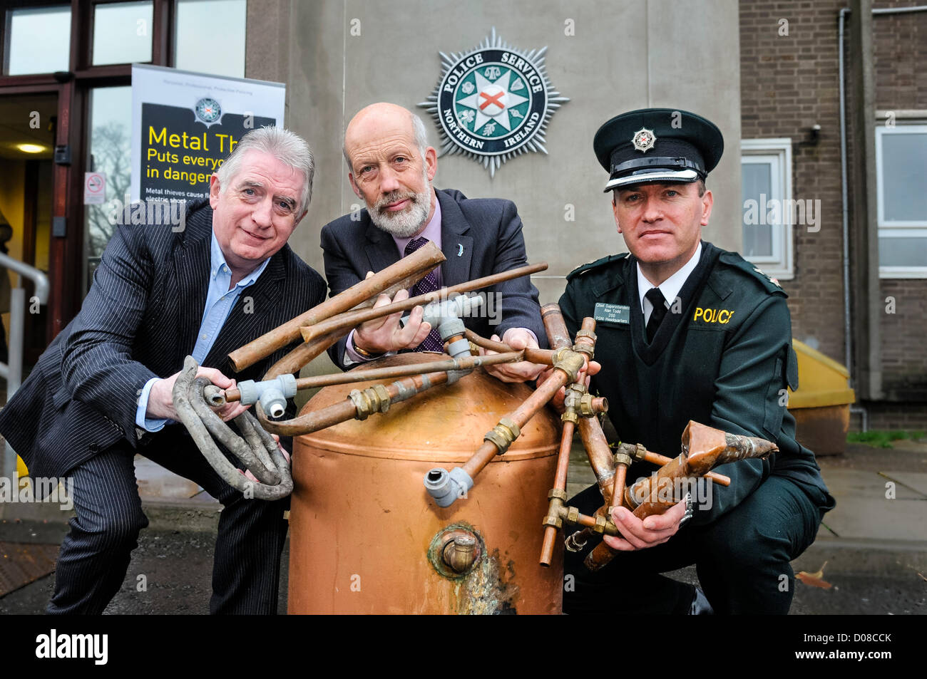Belfast, Northern Ireland. 20th November 2012. Dennis Monaghan (Metal Recycling Industry), Justice Minister David - Stock Image