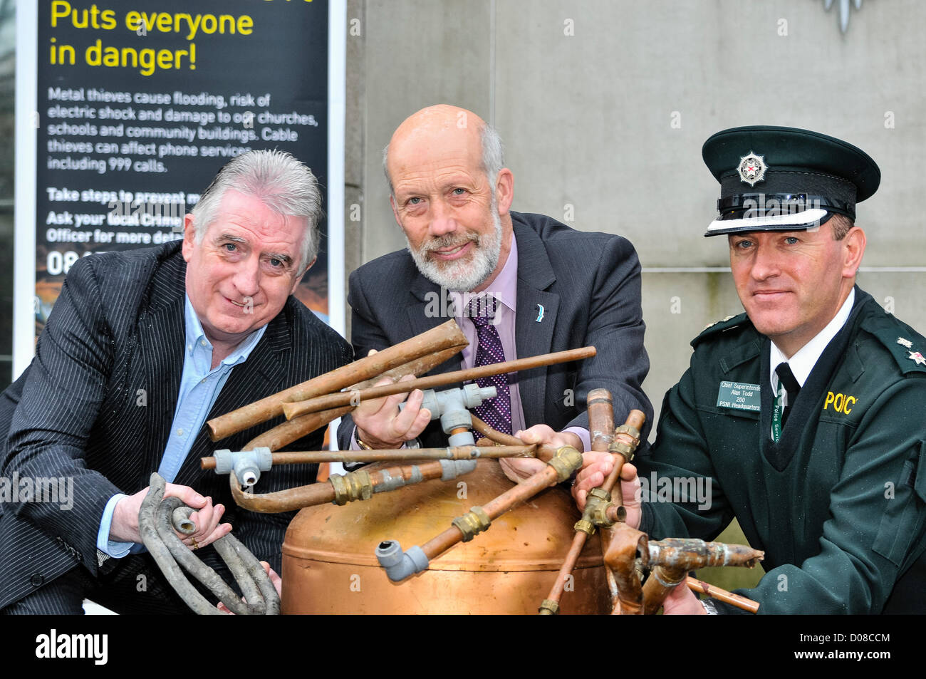 Belfast, Northern Ireland. 20th November 2012. Dennis Monaghan (Metal Recycling Industry), Justice Minister David Stock Photo