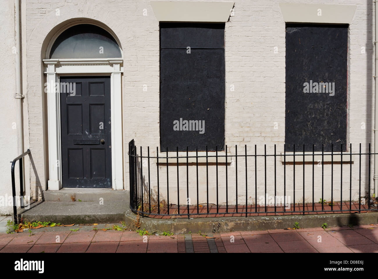 Business property in Nelson Street, Liverpool - part of Chinatown, boarded up and secured. - Stock Image