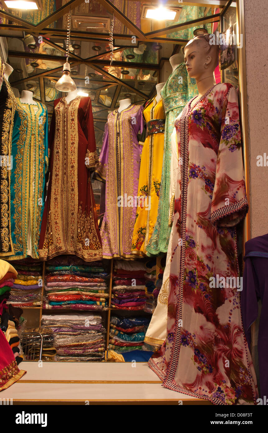 Fine silk garments for sale in Marrakech, Morocco - Stock Image