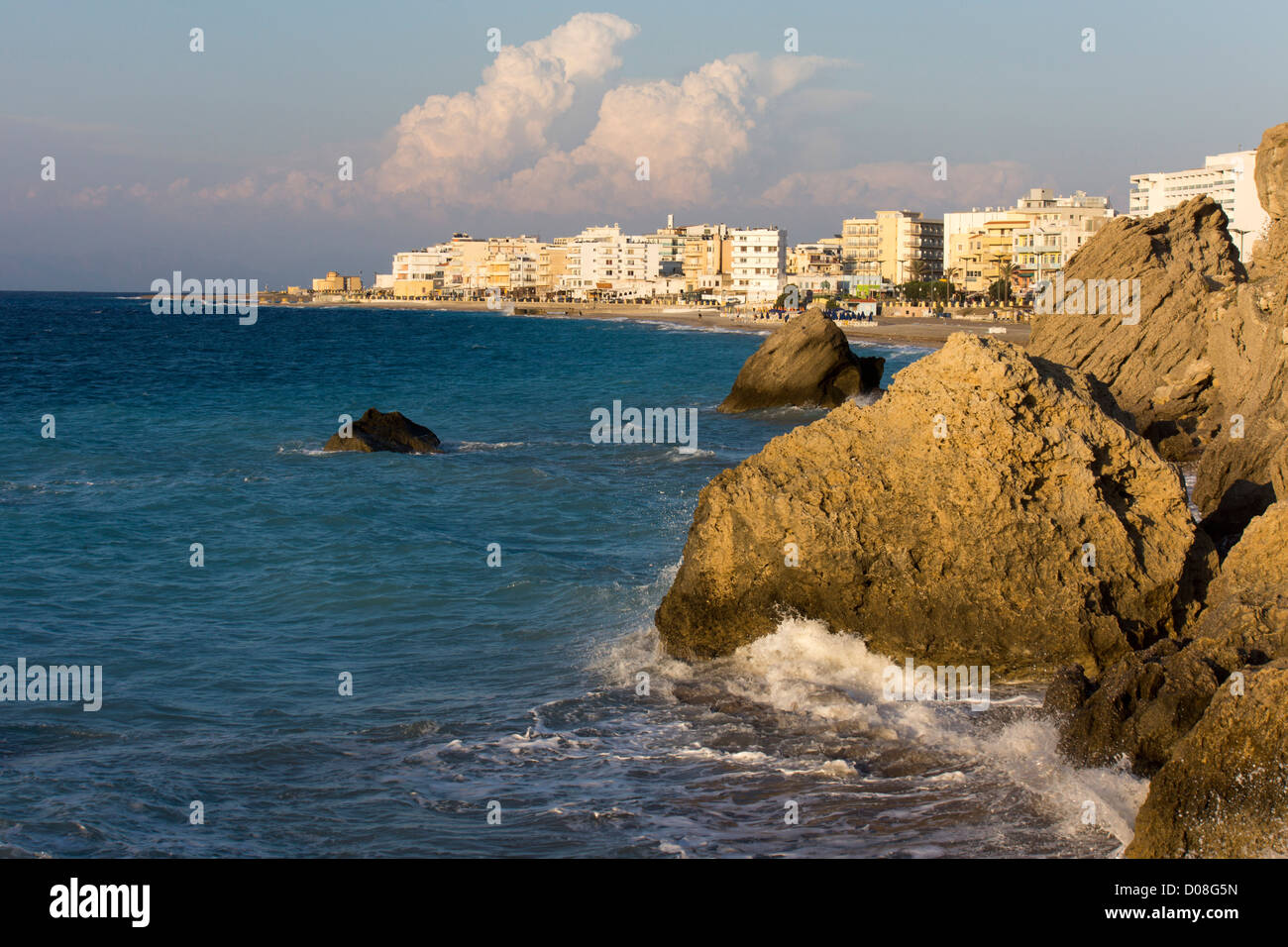Beach and blue sea  Rhodes, Rhodos, Greece hotels - Stock Image