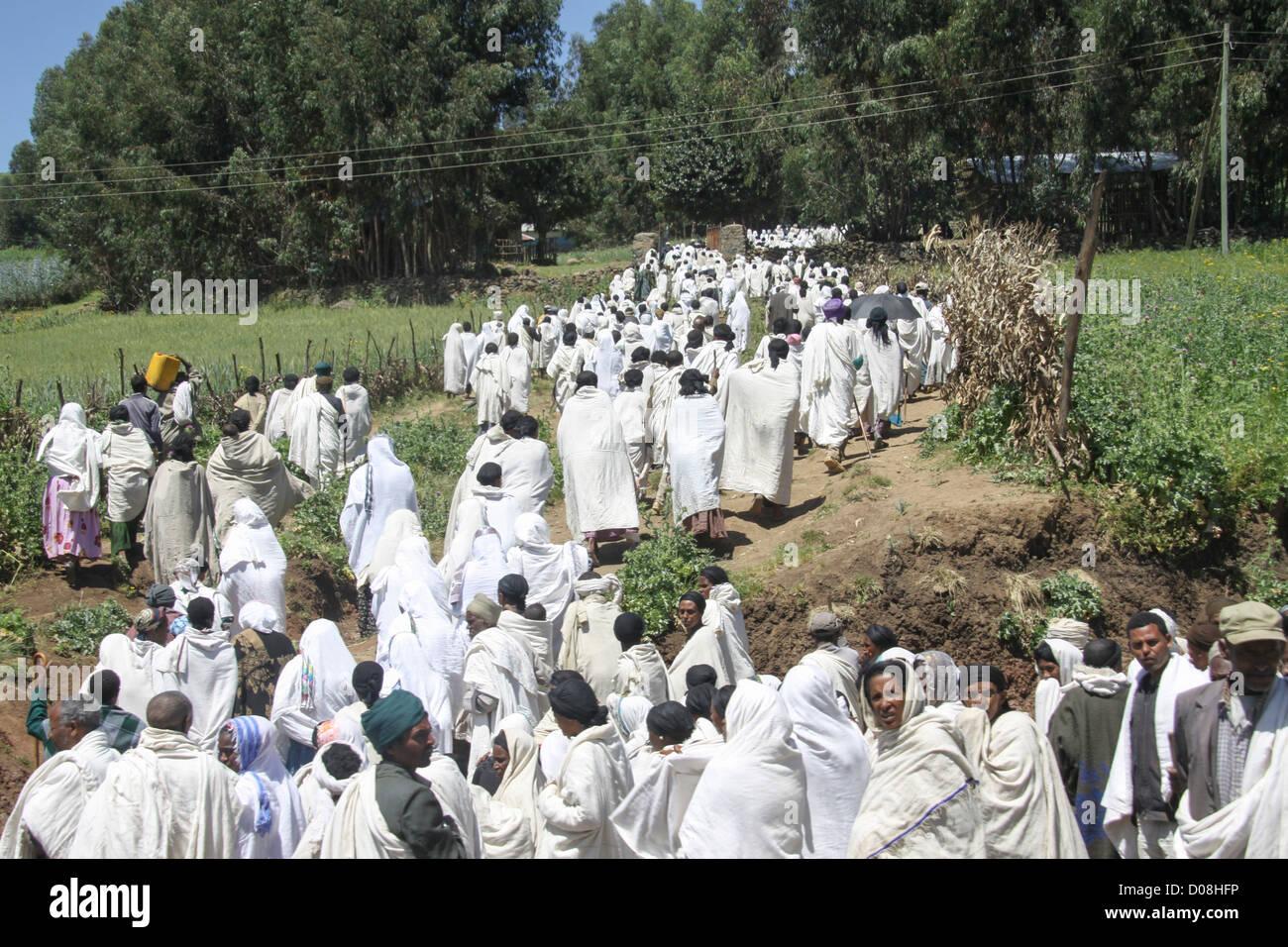 Ethiopia, Pilgrims at Gondar - Stock Image