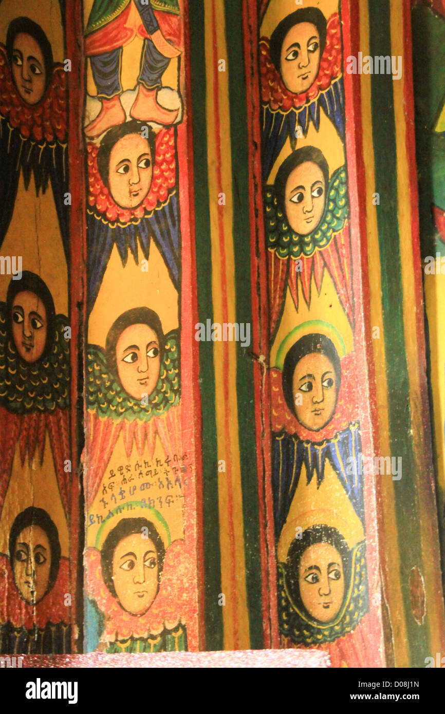 Ethiopia Lake Tana Zege Peninsula, Murals, in the Christian Church of Ura Kedane Meheriet - Stock Image